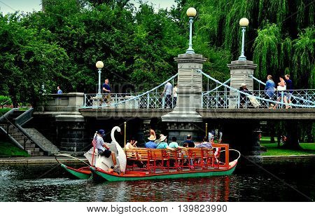 Boston Massachusetts - July 12 2013: One of the famed Swan Boats sailing on the lagoon in the Boston Public Gardens passes under the 1867 suspension bridge