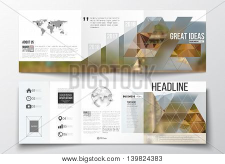 Vector set of tri-fold brochures, square design templates with element of world map and globe. Colorful polygonal backdrop, blurred background, modern stylish triangle vector texture.