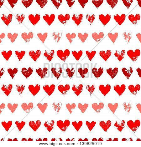 Red on white grunge hearts print seamless pattern, vector background