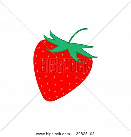 Sign flat strawberry. Fruit icon isolated on white background. Color organic food symbol. Healthy concept. Trendy eco vegetarian plane mark. Red freshness berry logo. Stock vector illustration
