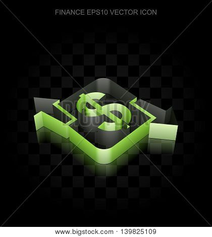 Finance icon: Green 3d Finance made of paper tape on black background, transparent shadow, EPS 10 vector illustration.