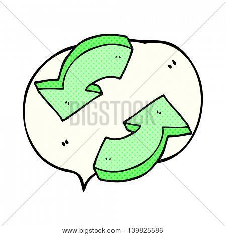 freehand drawn comic book speech bubble cartoon recycling arrows
