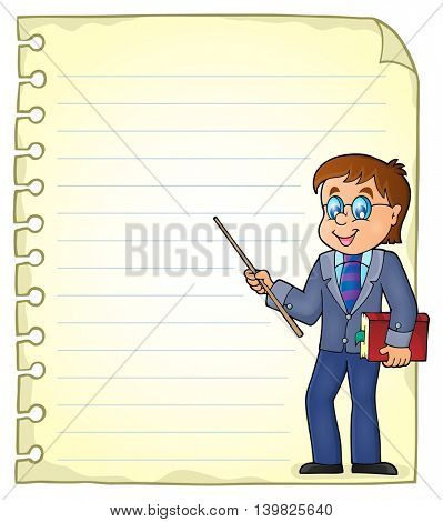 Notebook page with man teacher - eps10 vector illustration.
