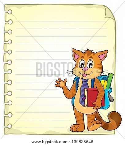 Notebook page with school cat - eps10 vector illustration.