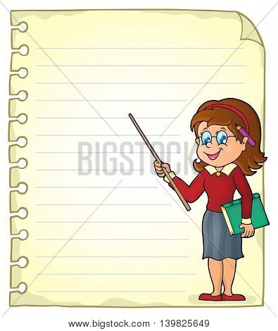 Notebook page with woman teacher - eps10 vector illustration.