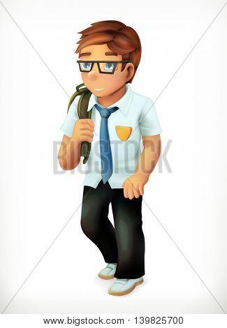 Schoolboy. Little boy cartoon character. Vector icon