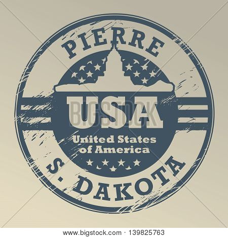 Grunge rubber stamp with name of South Dakota, Pierre, vector illustration