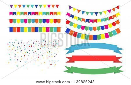 Vector Illustration of Colorful Garlands on white background. Colorful festive buntings Ribbons, Confetti and flags. Holiday set.
