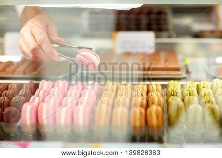 Close up macarons in showcase