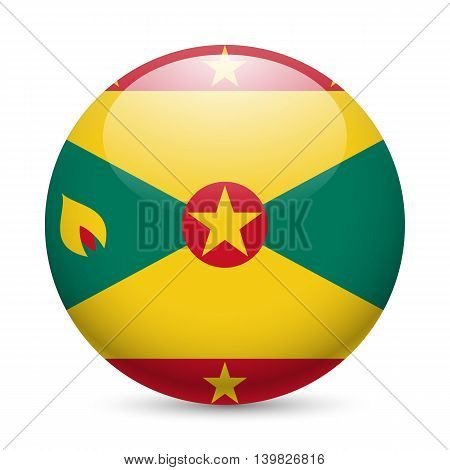 Flag of Grenada as round glossy icon. Button with Grenadian flag