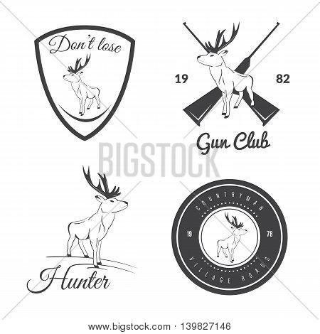 Set of vintage outdoors labels and badges with deer. Vector illustration.