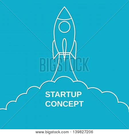Space rocket launch. Start up concept concept in linear style. Can be used for presentation, web page, booklet. Vector illustration in flat style
