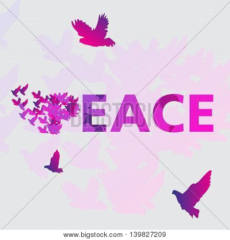Word Peace and dove in vector illustration.