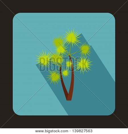 Two palm trees icon in flat style on a baby blue background