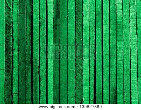 Green Background of Cracked Wooden Plank closeup