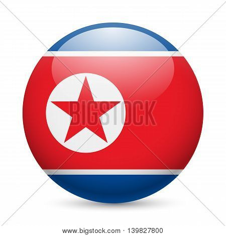 Flag of North Korea as round glossy icon. Button with North Korean flag