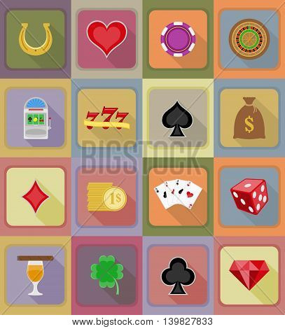 Casino Objects And Equipment Flat Icons Illustration