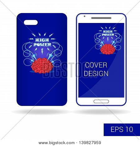 Concept Design Cover Mobile Smartphone With Funny Human Brain And Electric Lightning In Cartoon Styl