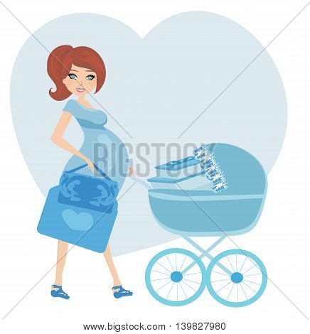 pregnant woman with a blue baby carrier full of presents , vector illustration