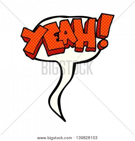 yeah! freehand drawn comic book speech bubble cartoon shout