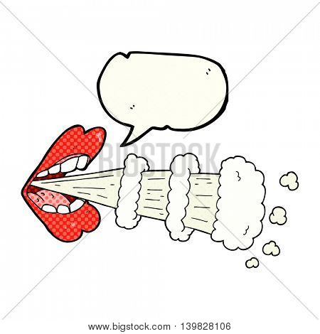 freehand drawn comic book speech bubble cartoon mouth breathing