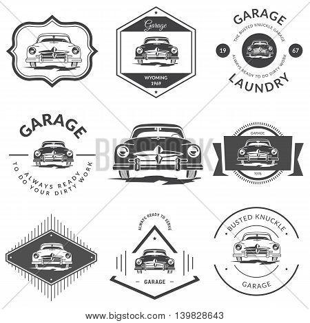Set of vintage car sign - Classic Garage. Vector illustration.