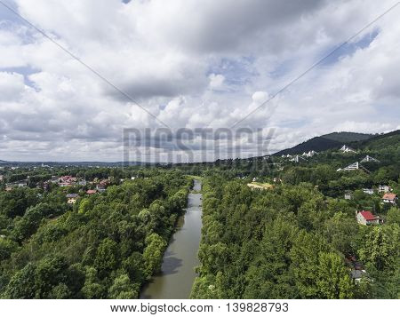beautiful Panorama of Ustron city in Poland