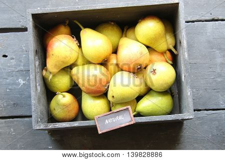 Natural food idea, text and Healthy Organic Pears