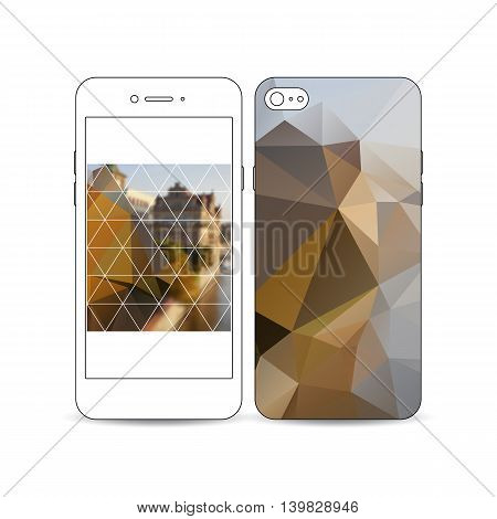 Mobile smartphone with an example of the screen and cover design isolated on white background. Polygonal background, blurred image, urban landscape, cityscape, modern stylish triangular vector texture