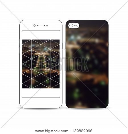 Mobile smartphone with an example of the screen and cover design isolated on white background. Dark polygonal background, blurred image, night city landscape, Paris cityscape, triangular texture.