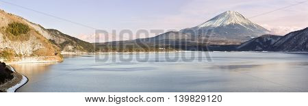 Mt Fuji (Fujisan), Japans highest peak viewed from Lake Motosuko.  An image of Mt Fuji is on the 1000 yen note. Lake Motosuko is the deepest (121.6m) & clearest lake of the 'Fuji Five Lakes'.