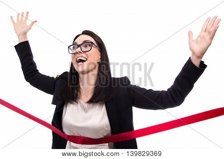 Funny Running Business Woman Crossing Finish Line Isolated On White