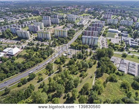 Typical Socialist Block Of Flats In Poland. East Europe. View From Above.