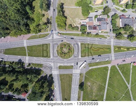 Aerial view of roundabout  in polish city.