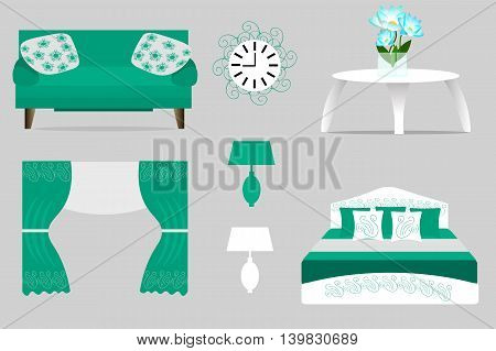 a set of furniture for interior, sofa, cushion, curtains, lamp, bed, table, clock, flowers, vector illustration