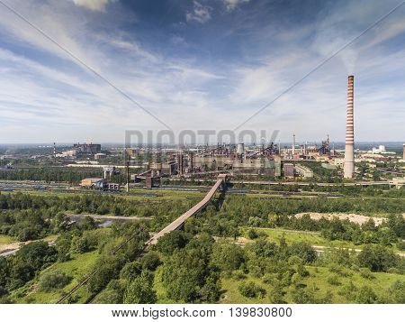 Steel Factory With Smokestacks At Suny Day.metallurgical Plant. View From Above.