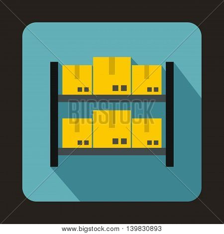 Shelves with cardboard boxes icon in flat style on a baby blue background