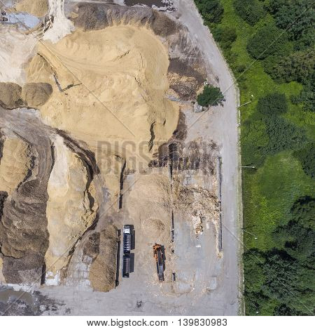 Aerial View Over The Sandpit. Industrial Place In Poland.