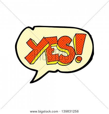freehand drawn comic book speech bubble cartoon yes symbol