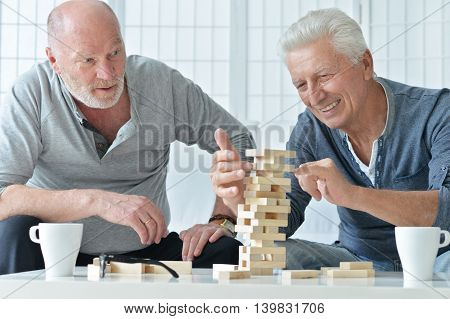 two senior men having fun and playing board game at home