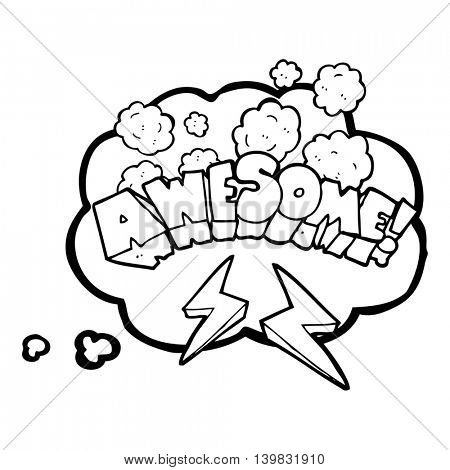 freehand drawn thought bubble cartoon word awesome