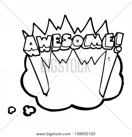 freehand drawn thought bubble cartoon awesome word