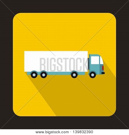 Cargo delivery truck icon in flat style on a yellow background