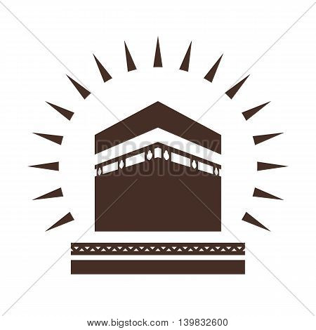 Kaaba in Mecca Saudi Arabia geometric pattern icon for greeting background of Hajj, vector illustration