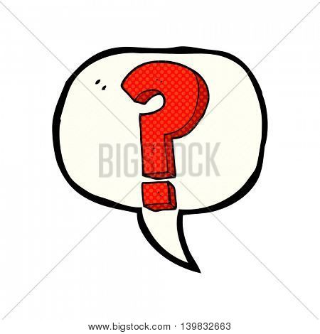 freehand drawn comic book speech bubble cartoon question mark symbol