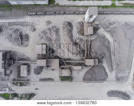 Aerial View Of Open Pit Sand Quarries.  View From Above.
