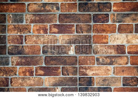 Red brick wall in a row abstract background