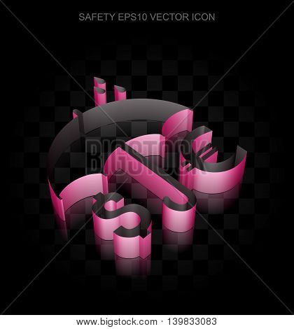 Protection icon: Crimson 3d Money And Umbrella made of paper tape on black background, transparent shadow, EPS 10 vector illustration.