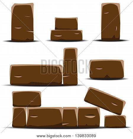 Set of cartoon vector stones. Vector illustration.