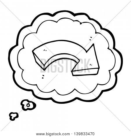 freehand drawn thought bubble cartoon pointing arrow